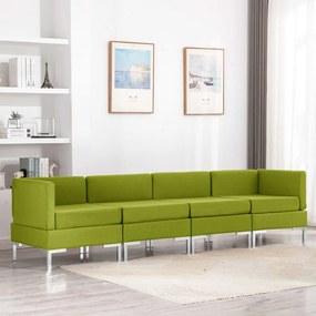 3052804 vidaXL Set de canapele, 4 piese, verde, material textil