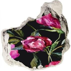 Fototapet un zid spart cu priveliște Bujori roz