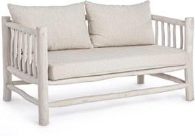 Canapea 2 locuri lemn alb patinat Sahel 140 cm x 75 cm x 78 cm x 43 h1 x 69 h2 x 69 h3