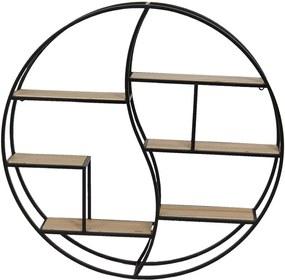 Etajera suspendabila cu 6 polite din lemn natur si cadru din fier negru Ø 80 cm x 12 cm