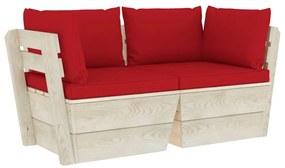 3063390 vidaXL Canapea grădină 2 locuri din paleți, cu perne, lemn de molid
