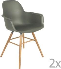 Set 2 scaune cu cotiere Zuiver Albert Kuip, verde