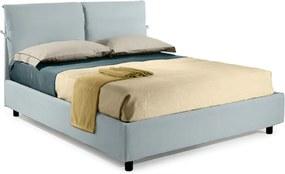 Pat Dormitor Matrimonial Bed&Sofa Fiocco iSomn 160x200 cm, lada de depozitare, piele ecologica, albastru deschis