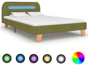 280907 vidaXL Cadru de pat cu LED-uri, verde, 120 x 200 cm, material textil