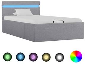 285607 vidaXL Cadru pat hidraulic ladă&LED gri deschis 100x200 cm textil