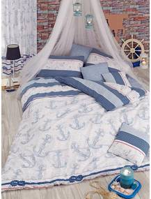 Lenjerie de pat cu cearșaf Capa Light Blue, 200 x 220 cm, alb - albastru