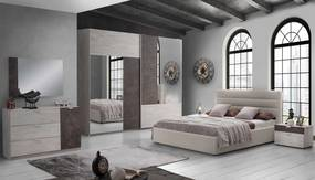 Dormitor Urban, ulm/maro, pat 160x190 cm, dulap cu 2 usi culisante, 2 noptiere, comoda