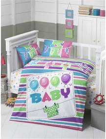 Lenjerie pat din bumbac pentru copii Baby, 100 x 150 cm