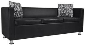 242208 vidaXL Canapea cu 3 locuri, negru, piele artificială