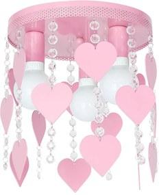 Plafoniera copii ELZA hearts 3xE27/60W/230V roz