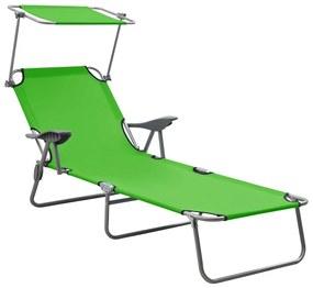 310335 vidaXL Șezlong cu baldachin, verde, oțel