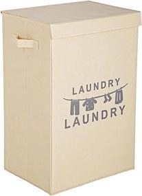 Cos rufe pliabil cu capac textil crem Laundry 40 cm x 30 cm x 60 h