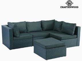 Sofa and Pouf Set (5 pcs) Ratan Gri închis by Craftenwood