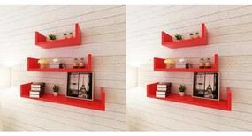 Rafturi de perete, 6 buc., roșu