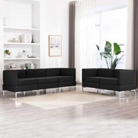 3052795 vidaXL Set de canapele, 5 piese, negru, material textil