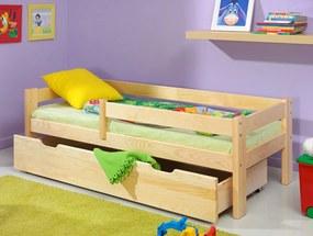 Patul pentru copii Paul 140x70 cm verde natural pat fără spațiu de depozitare