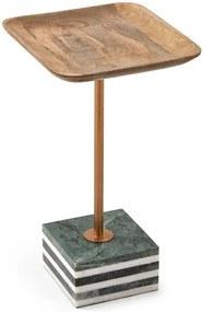 Masa cafea crem din lemn mango si marmura 25x25 cm Square Lleyton La Forma