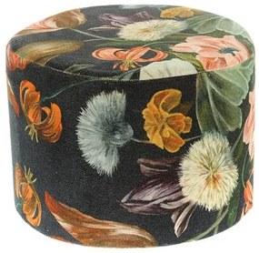 Taburet catifelat, model floral