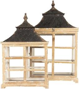 Set 2 felinare din lemn natur metal maro si sticla 46 cm x 28 cm x 78 h; 39 cm x 20 cm x 62 h