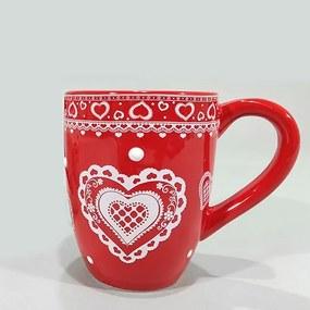 Cana Heart din ceramica rosie 10 cm