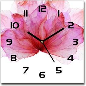 Ceas de sticlă pe perete pătrat Floare roz