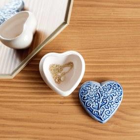 Cutie bijuterii din ceramica, inima albastra, detalii florale