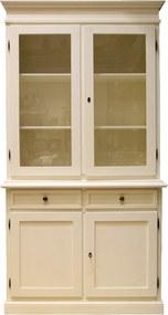 Baza si vitrina cu 2 usi din lemn crem
