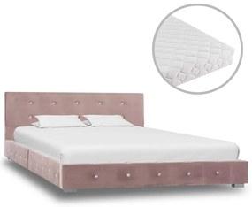 278163 vidaXL Pat cu saltea, roz, 120x200 cm, catifea