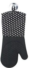 Set 2 manusi negre/albe din bumbac si poliester pentru bucatarie Oven Gloves Black Wenko