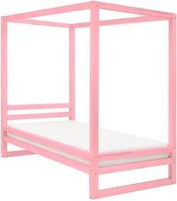 Pat din lemn pentru o persoană Benlemi Baldee, 190 x 120 cm, roz