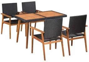 Set mobilier de exterior, 5 piese, poliratan, negru și maro