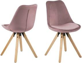 Set 2 scaune Actona Damia Velvet, roz
