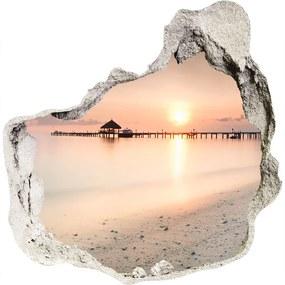 Fototapet 3D gaură în perete Plaja Maldive