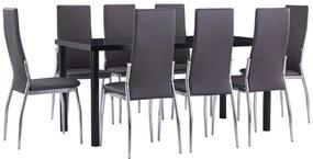 3053042 vidaXL Set mobilier de bucătărie, 9 piese, gri, piele ecologică
