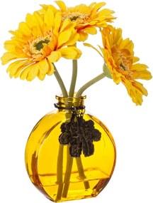 Set vaza sticla cu 3 flori gerbera artificiala galbena 28 H