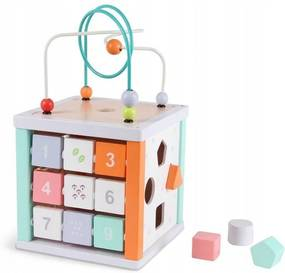 Cub educativ din lemn Ecotoys SMILE + cuburi