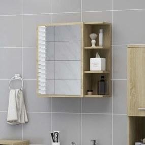 803311 vidaXL Dulap baie cu oglindă, stejar Sonoma, 62,5x20,5x64 cm PAL