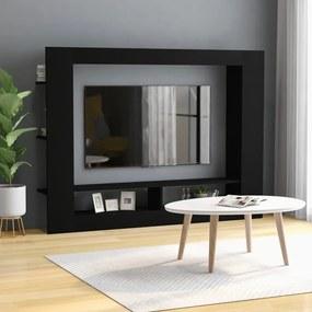 800739 vidaXL Comodă TV, negru, 152 x 22 x 113 cm, PAL