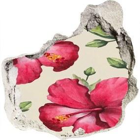 Fototapet 3D gaură în perete Hibiscus roz