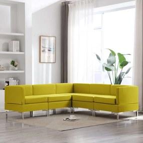 3052776 vidaXL Set de canapele, 5 piese, galben, material textil