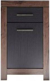 Cabinet din pal, cu 1 sertar si 1 usa Blake Stejar Negru / Stejar, l64xA45xH105 cm