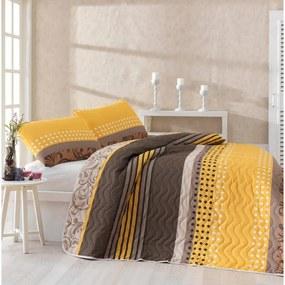 Set cuvertură pat și față de pernă din amestec de bumbac Miranda Yellow, 160 x 220 cm