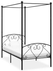 284434 vidaXL Cadru de pat cu baldachin, negru, 100 x 200 cm, metal