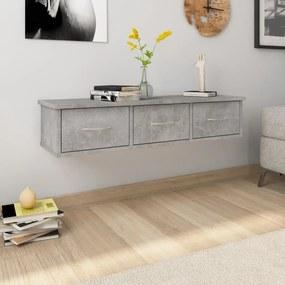 800598 vidaXL Dulap de perete cu sertare, gri beton, 90x26x18,5 cm, PAL