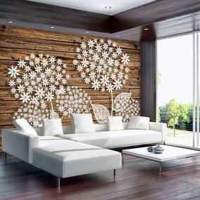 Fototapet - Flori pe lemn (254x184 cm), în 8 de alte dimensiuni noi