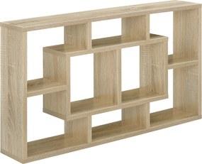 [en.casa]® Raft de perete design, 85 x 47,5 x 16 cm, lemn/melamina, culoarea lemnului