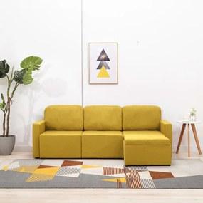 288789 vidaXL Canapea extensibilă modulară cu 3 locuri galben material textil