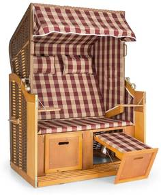 Hiddensee scaun plaja XL 2 locuri 118 cm , pin si răchită rosu / cu carouri albe