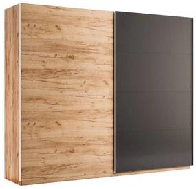Expedo Dulap dormitor cu uşi glisante DOTA, 250x211x61,5, stejar Kraft/gri
