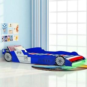 243937 vidaXL Pat copii mașină de curse, cu LED, 90 x 200 cm, albastru